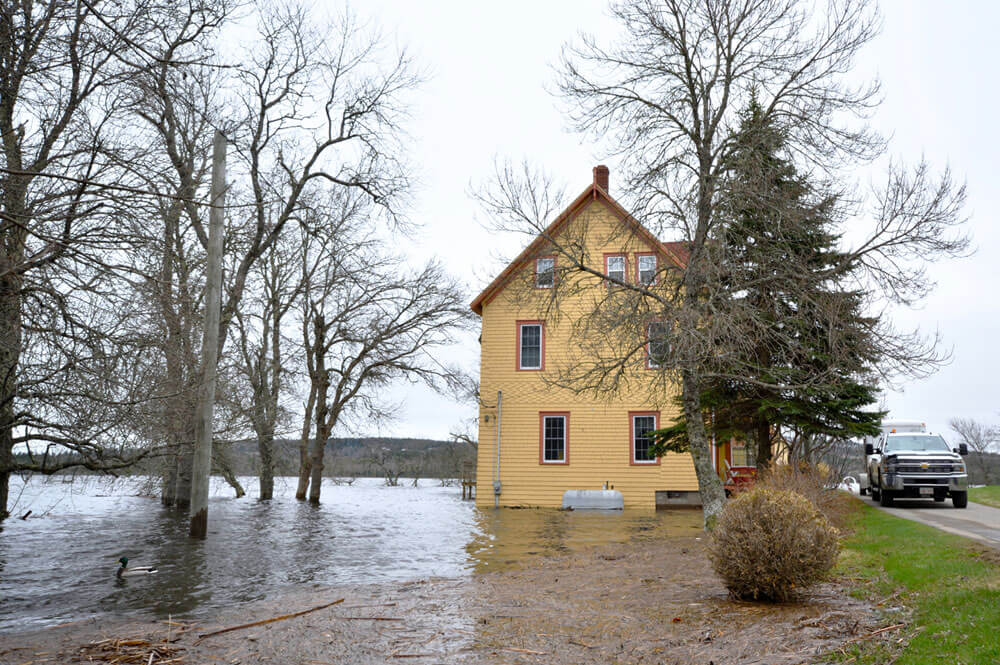 Yellow House In Flood