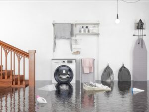 Flooded residential laundry room