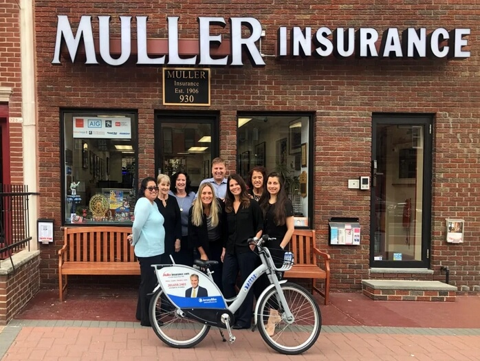 Muller Insurance staff with JerseyBike