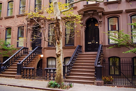 Row Of Family Brownstone Homes