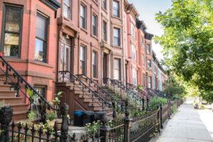 Row of Brownstone Residential Buildings