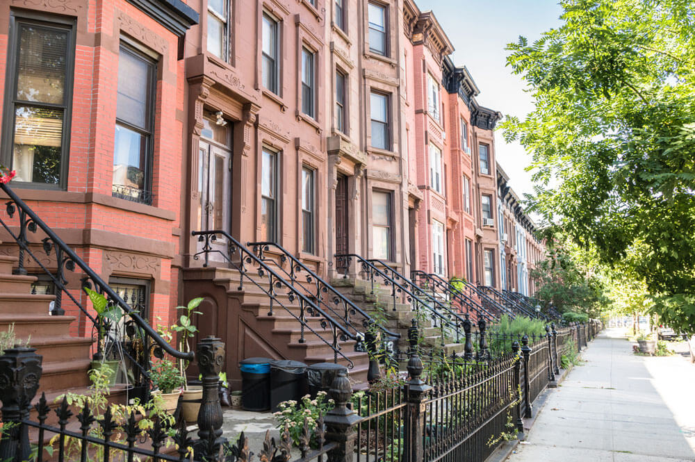 Row of Brownstone Residential Buildings
