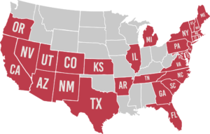 US map of states we insrue in