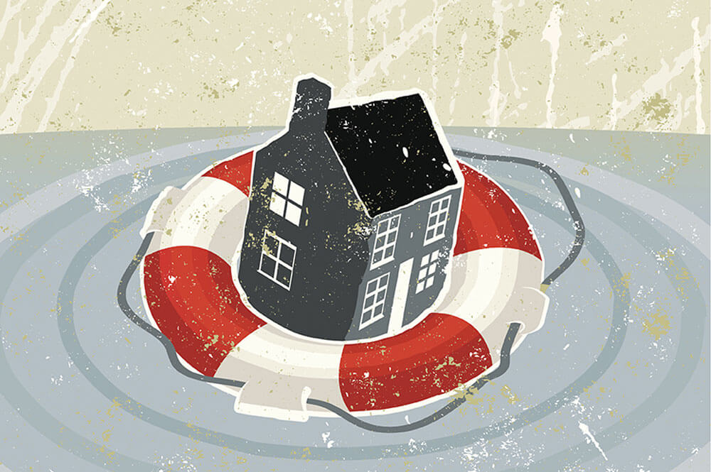 House in an inner tube on water