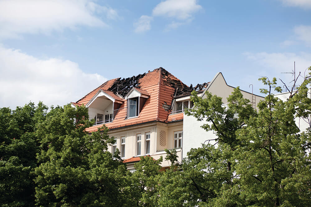 House with burned roof