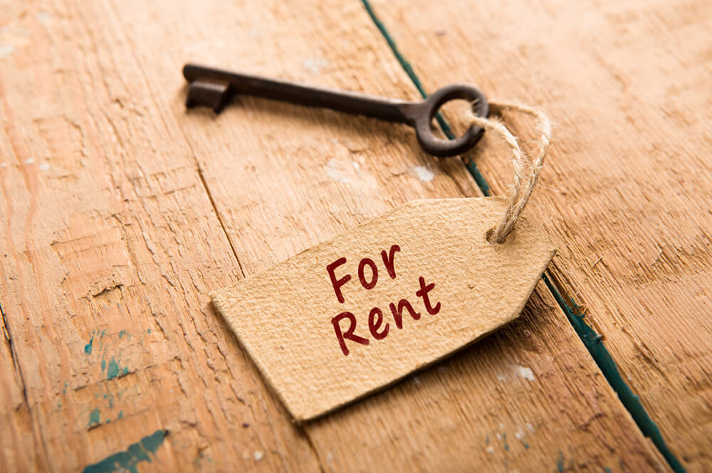 """""""For rent"""" tag attached to key"""